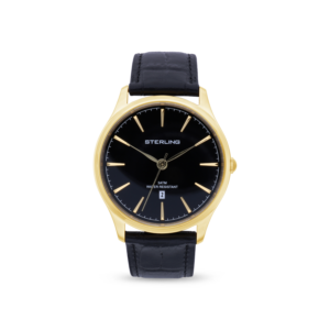 Relogio Sterling Gents Black Leather Gold Cas